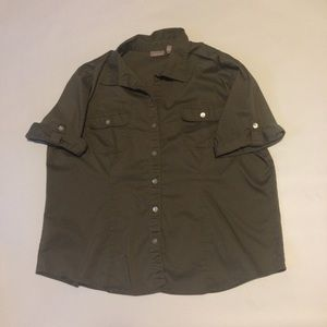 Chico's olive green button blouse sz 3 16 / 18